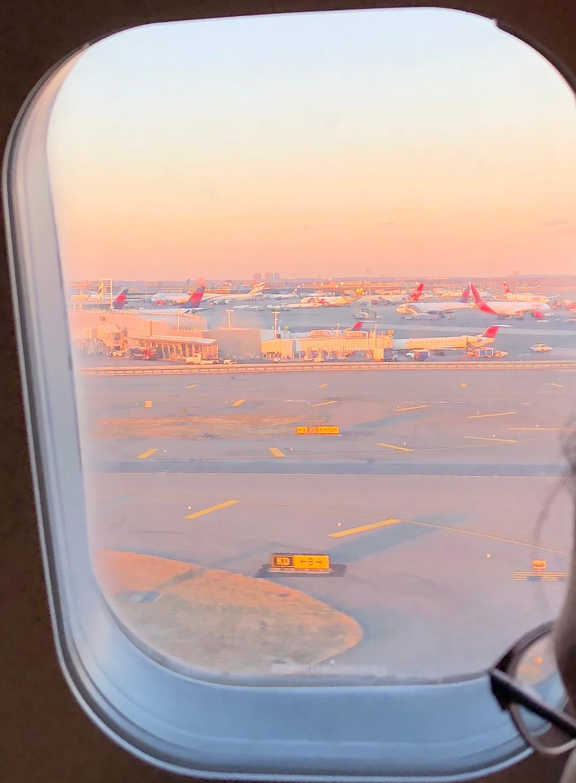 JFK sunset planes Christmas