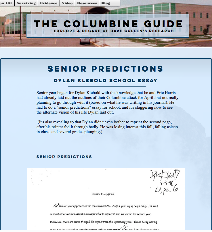 added dylan klebold s senior predictions to the columbine guide  added dylan klebold s senior predictions to the columbine guide dave cullen author of expanded new columbine gay iers book