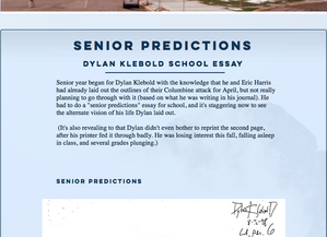 Added Dylan Klebold's 'Senior Predictions' to The Columbine Guide
