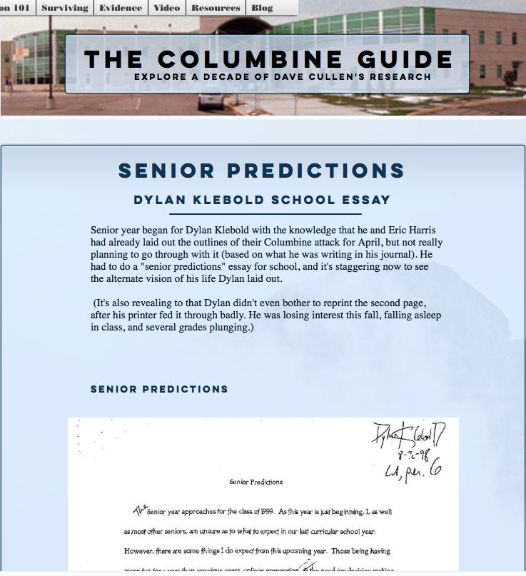 Dylan Klebold 'Senior Predictions' school essay, Columbine Sue Klebold