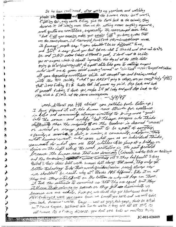 Eric Harris journal, Book of God, Columbine racist