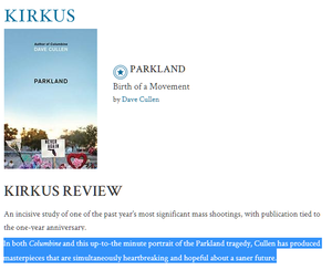 Kirkus Parkland book Dave Cullen NeverAgain Florida map Never Again