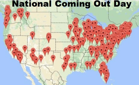 National Coming Out Day map, gay, HRC Human Rights Campaign
