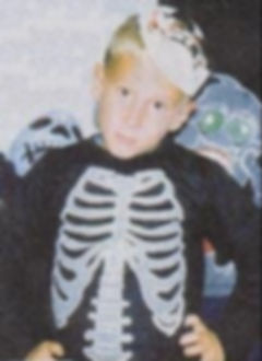 Eric Harris, Halloween costume, five years old. Columbine. skeleton