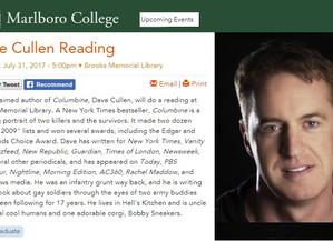 Public reading in Brattleboro, Vermont next Monay