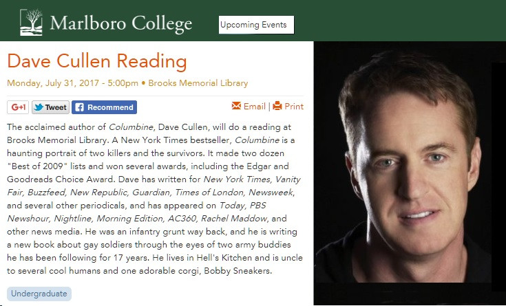 Marlboro College Dave Cullen reading--Columbine, gay soldiers