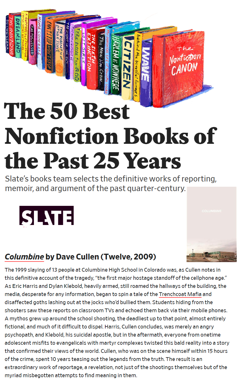 Slate Columbine 50 Best Nonfiction Books of the Last 25 Years century
