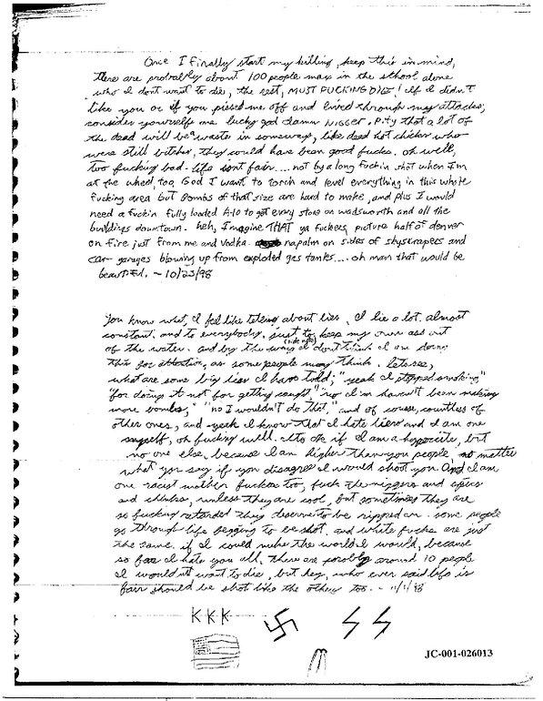 Eric Harris journal, Book of God, Columbine KKK swastika