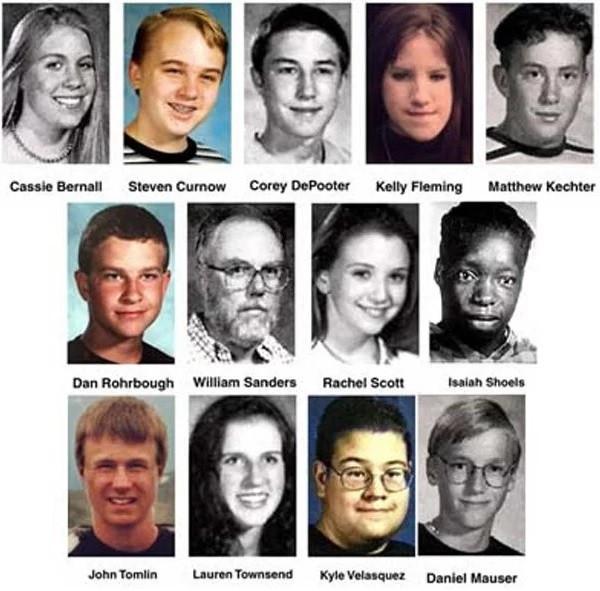 Columbine 13 killed: Cassie Bernall, Steven Curnow, Corey Depooter, Kelly Fleming, Matthew Kechter, Daniel Mauser, Daniel Rohrbough, Rachel Scott, Isaiah Shoels, John Tomlin, Lauren Townsend, Kyle Valasquez, Dave Sanders