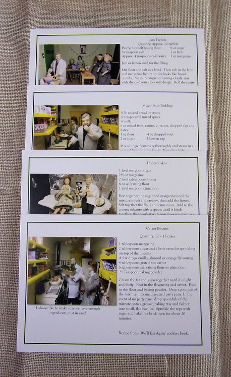 Set of 4 Sweet Recipe Postcards