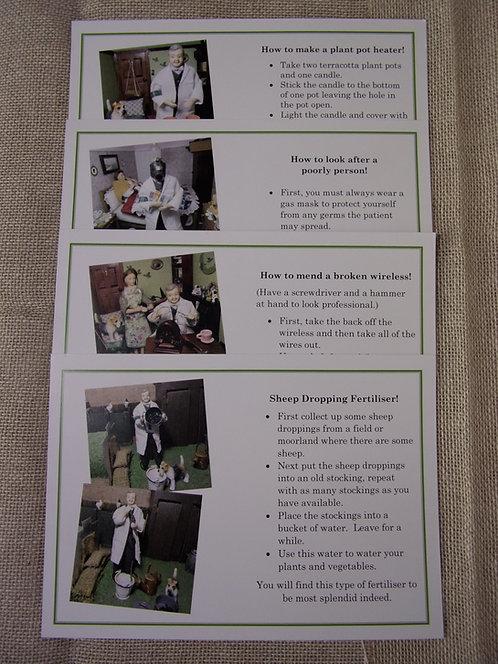 Set of 4 Handy Hint Postcards
