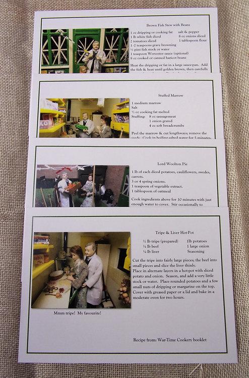 Set of 4 Savoury Recipe Postcards