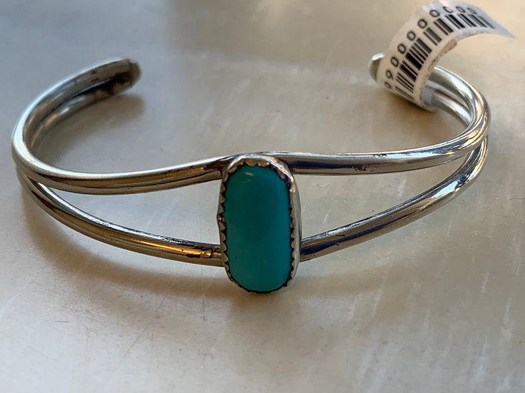 Native American Silver and Turquoise split band cuff