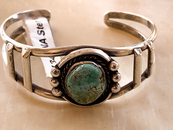 Vintage turquoise and silver cuff