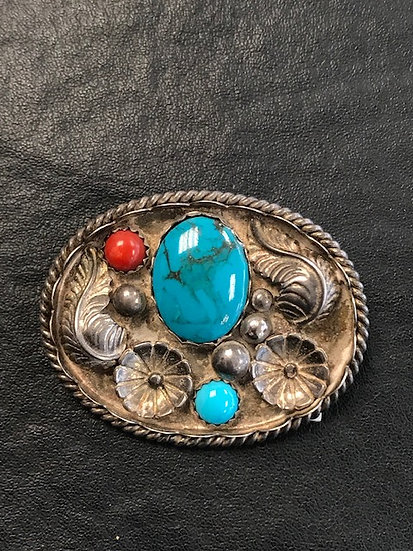 Died Turquoise and Coral Silver Pendant