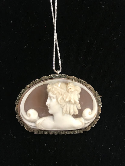 Helmet Shell and Silver Profile Cameo Necklace or Pin