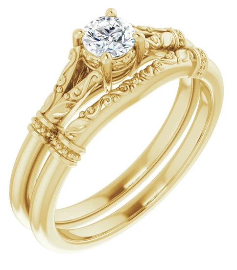 14K 5.2 mm Round Solitaire Engagement Ring Mounting