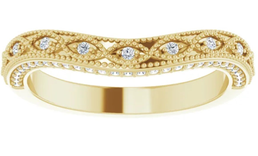 14K Vintage Inspired Diamond Matching Band
