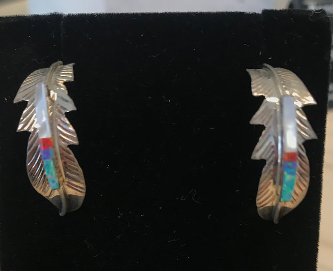 Feather Inlayed Earrings