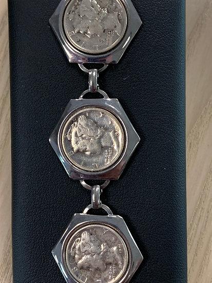 Mercury silver dimes in base metal bracelet