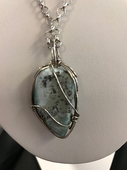 Larimar Sterling Wire Wrap Necklace
