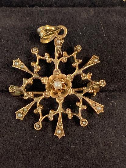 Edwardian Snowflake seed pearl necklace/pin 10k