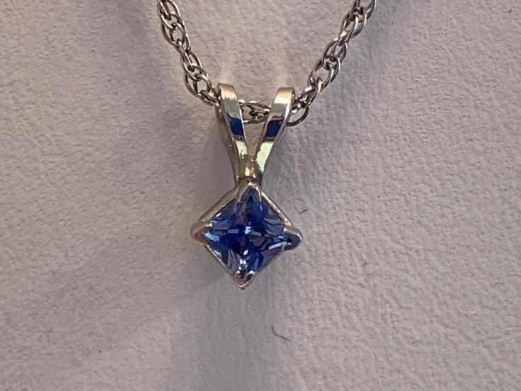 Small Sapphire Silver Pendant