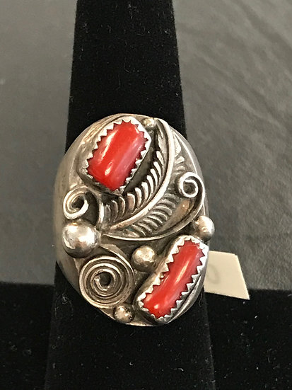 Native American Two Stone Coral Silver Ring