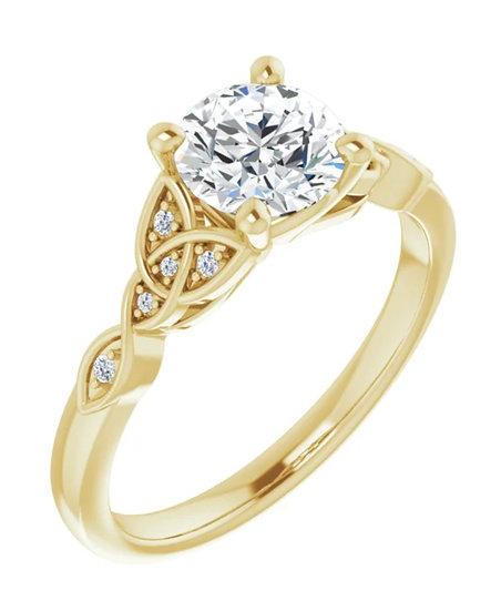 14K 6.5 mm Celtic Inspired Round Engagement Ring