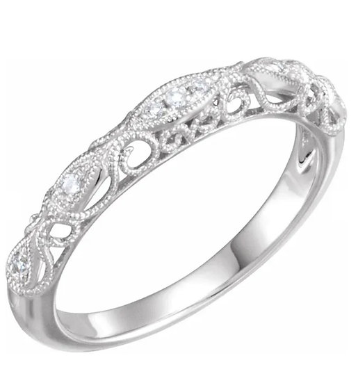 14K White 1/10 CTW Diamond Matching Band