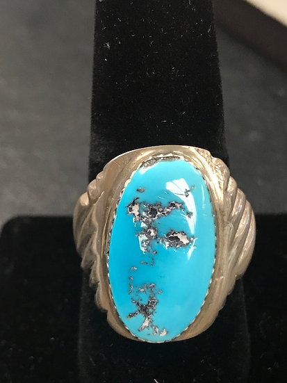 Native American Turquoise and Silver Men's Ring