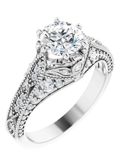 14K Vintage-Inspired Engagement Ring
