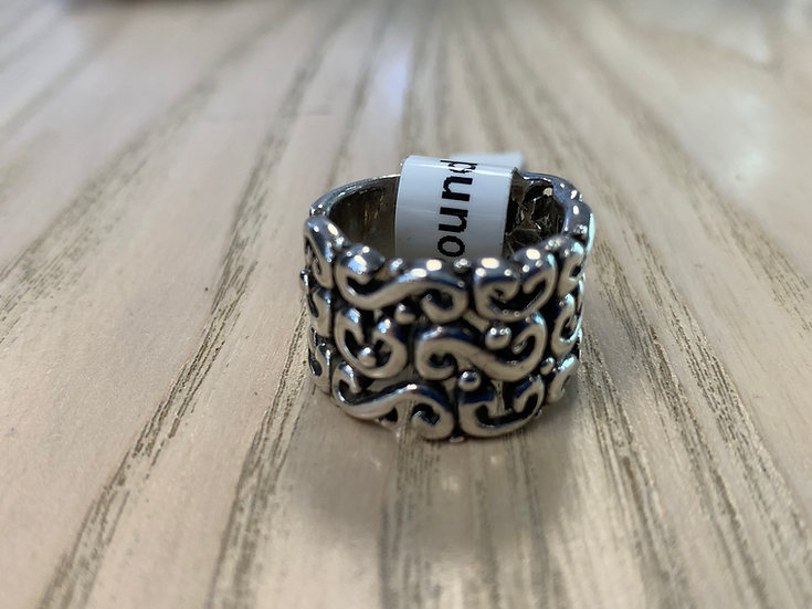 Wide Scroll Round Ring