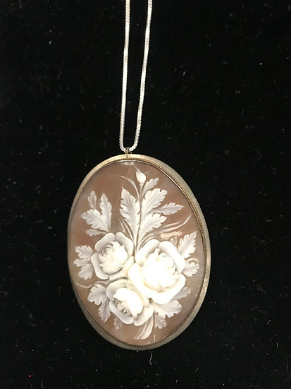 Helmet Shell and Silver Rose Cameo Necklace or Pin