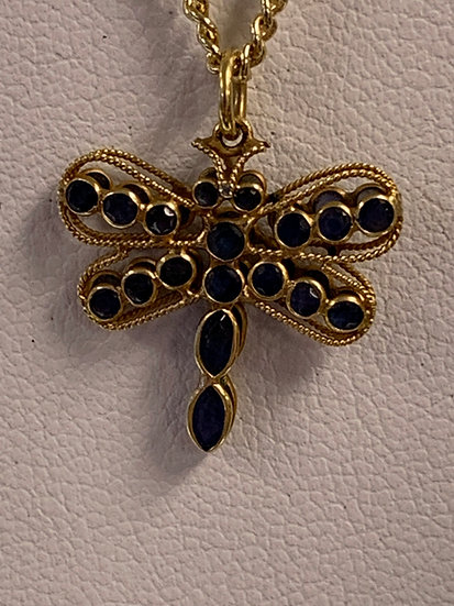 18k sapphire dragon fly pendant hand made double sided
