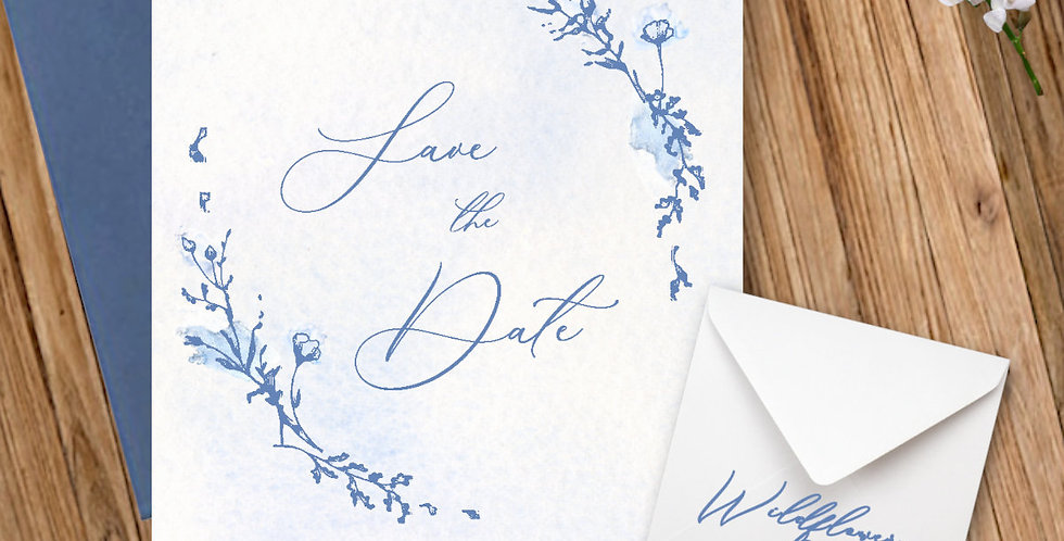 Boho Elegant Watercolour Wildflower -Save the Date