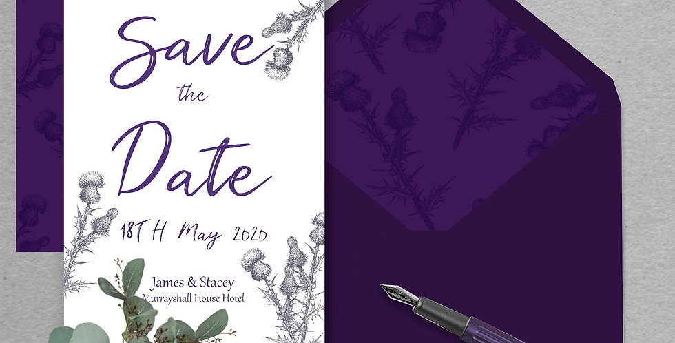 Scottish Thistle - Save the Date -