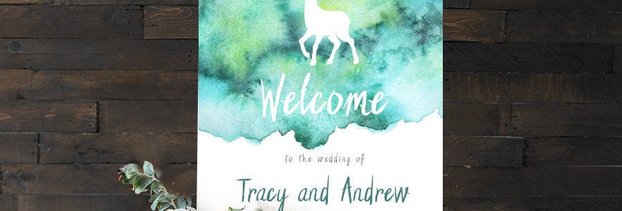 Watercolour Stag Welcome Sign