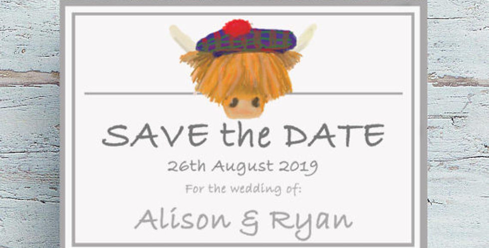 Highland Cow - Save the Date -