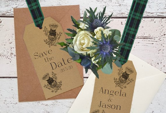 Rustic Thistle Label - Save the Date -
