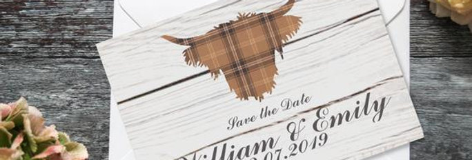 Tartan Highland Cow- Save the Date -