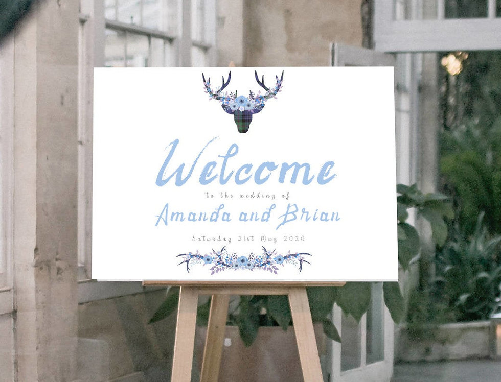 Boho Tartan Stag Welcome Sign