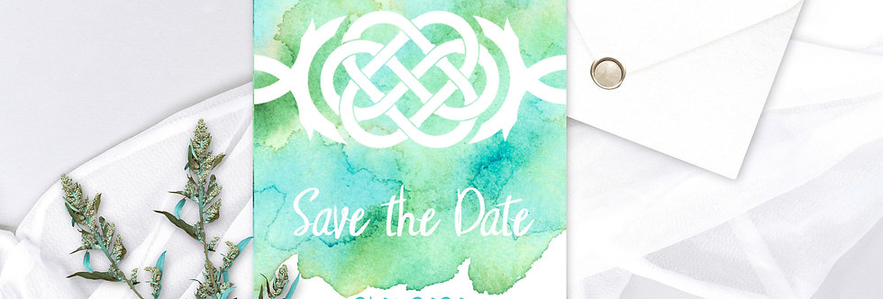 Celtic Knot Watercolour- Save the Date -
