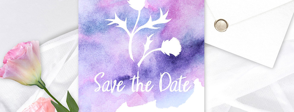 Watercolour Thistle - Save the Date -