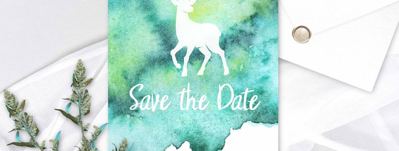 Watercolour Stag - Save the Date -