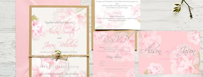 Floral Peony Watercolour Invite Pack