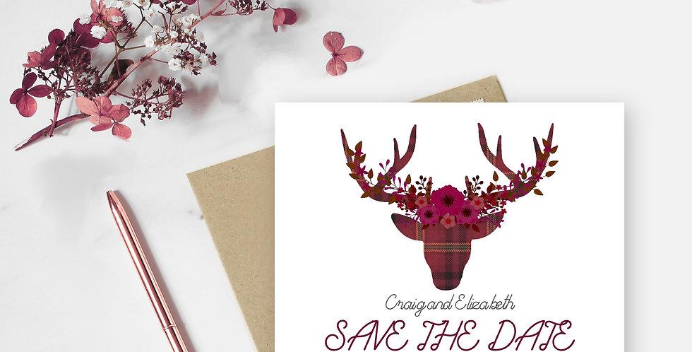 Boho Tartan Stag - Save the Date -