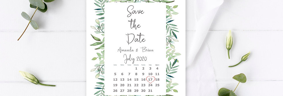 Boho Greenery - Save the Date -
