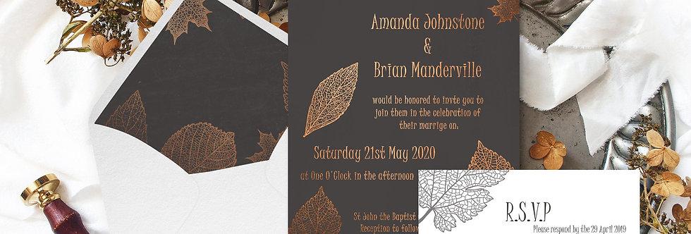 Modern Copper Foil Fall Leaves Invite Pack