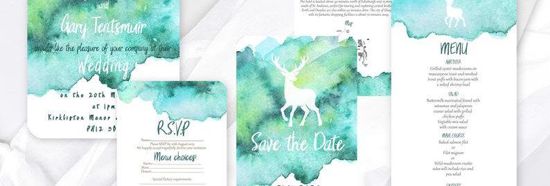 Watercolour Stag Invite Pack